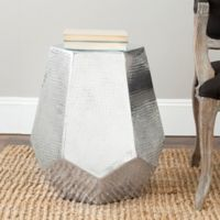 Safavieh Aidan Hammered Aluminum Stool in Silver