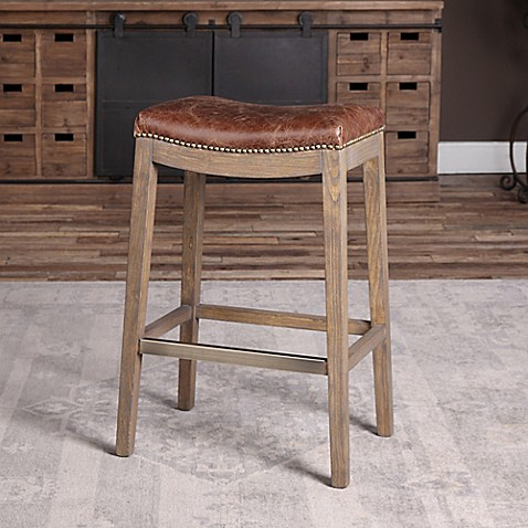 Uttermost Cochran Leather Bar Stool In Chocolate Bed