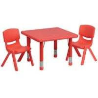 Flash Furniture 24-Inch Square Activity Table with 2 Stackable Chairs in Red