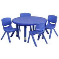 Flash Furniture 33-Inch Round Activity Table with 4 Stackable Chairs in Blue