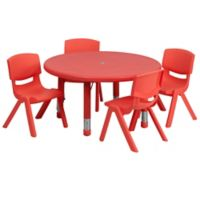 Flash Furniture 33-Inch Round Activity Table with 4 Stackable Chairs in Red