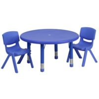 Flash Furniture 33-Inch Round Activity Table with 2 Stackable Chairs in Blue