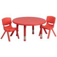 Flash Furniture 33-Inch Round Activity Table with 2 Stackable Chairs in Red