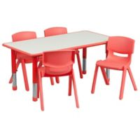 Flash Furniture Rectangular Activity Table with 4 Stackable Chairs in Red/Grey