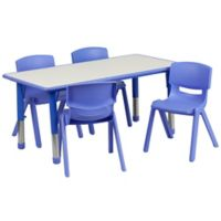 Flash Furniture Rectangular Activity Table with 4 Stackable Chairs in Blue/Grey