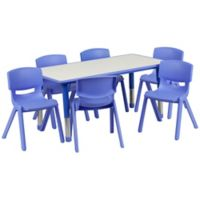Flash Furniture Rectangular Activity Table with 6 Stackable Chairs in Blue/Grey