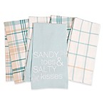 Coastal Sandy Toes 5-Pack Kitchen Towels in Turquoise
