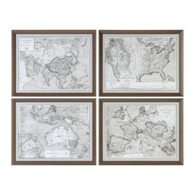 Uttermost World Maps Wall Art (Set Of 4)