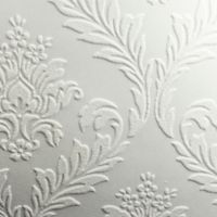 Graham & Brown Medium Damask Paintable Wallpaper in White