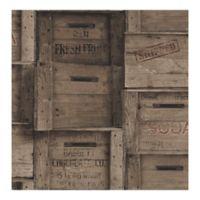 A-Street Prints Reclaimed Dark Wood Crates Wallpaper
