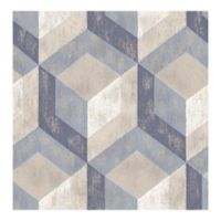 A-Street Prints Rustic Wood Tile Wallpaper in Blue