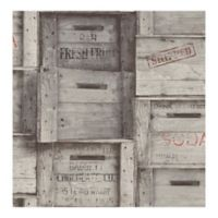 A-street Prints Reclaimed Wood Crates Wallpaper in Grey