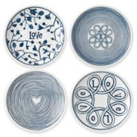 "ED Ellen DeGeneres Crafted by Royal Doulton® ""Love"" Mini Tapas Plates in Blue (Set of 4)"