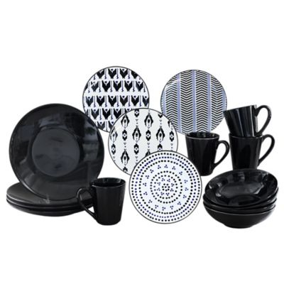 Baum Ikat 16-Piece Dinnerware Set in Black  sc 1 st  Bed Bath u0026 Beyond & Buy 16 Piece Black Stoneware Dinnerware Sets from Bed Bath u0026 Beyond