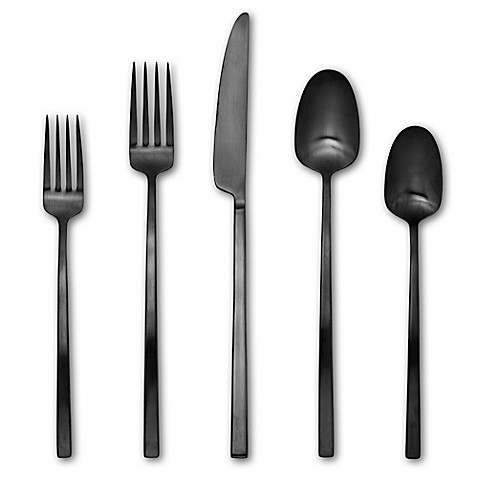 image of Artisanal Kitchen Supply® Edge 20-Piece Flatware Set in Black Satin