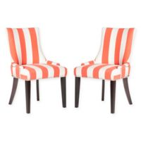 Safavieh Lester Dining Chairs in Orange/White Stripe (Set of 2)