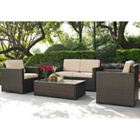 Crosley Palm Harbor 4-Piece Outdoor Wicker Conversation Set in Sand