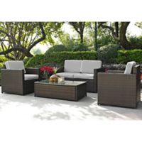 Crosley Palm Harbor 4-Piece Outdoor Wicker Conversation Set in Grey