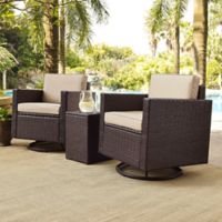 Crosley Palm Harbor 3-Piece Outdoor Wicker Conversation Set in Sand
