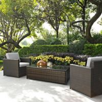 Crosley Palm Harbor 3-Piece Outdoor Wicker Seating Set in Grey