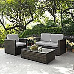 Crosley Palm Harbor 3-Piece Outdoor Wicker Conversation Set in Grey