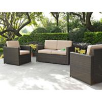 Crosley Palm Harbor 3-Piece Outdoor Wicker Seating Set in Sand
