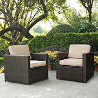 Crosley Palm Harbor Wicker Arm Chairs in Sand (Set of 2)