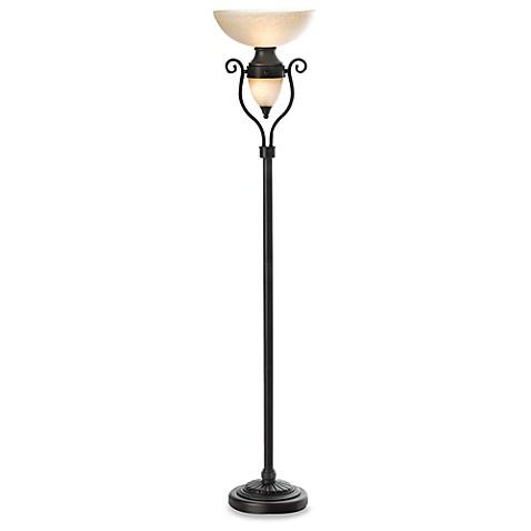 Torchiere copper bronze floor lamp with nightlight bed for Torchiere floor lamp bed bath and beyond