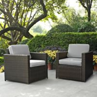 Crosley Palm Harbor Wicker Arm Chairs in Grey (Set of 2)