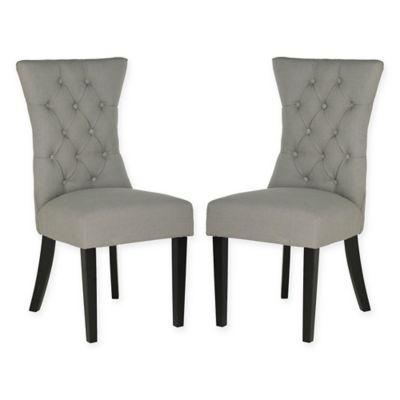 Attirant Safavieh Gretchen Tufted Side Chairs In Granite (Set Of 2)