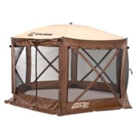 Clam Outdoors Quick-Set® Pavilion™ 6-Sided Screen Shelter with Wind Panel Flaps in Brown