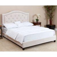 Abbyson Living Hillsdale Velvet Queen Bed in Ivory