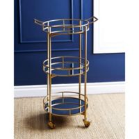 Abbyson Living Marriot 3-Tier Round Bar Cart in Gold