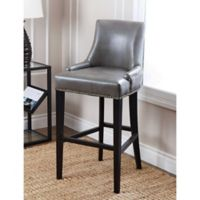 Abbyson Living Newport Leather Barstool in Grey