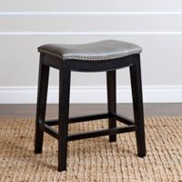 Abbyson Living Rivoli Leather Counter Stool in Grey