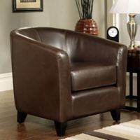 Abbyson Living Montecito Leather Arm Chair in Brown
