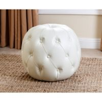 Abbyson Living Grand Tufted Leather Ottoman in Ivory