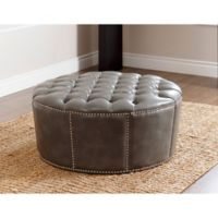 Abbyson Living® Newport Round Leather Ottoman in Grey