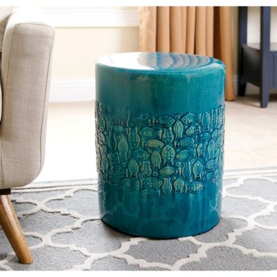 abbyson living bali ceramic garden stool in teal