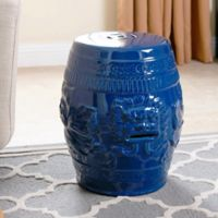 Abbyson Living Chinese Lion Ceramic Garden Stool in Blue