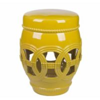 Abbyson Living Whitney Ceramic Garden Stool in Yellow