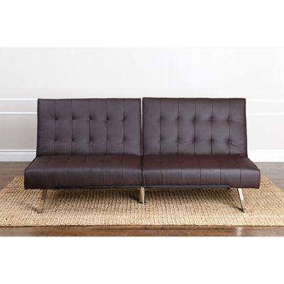Abbyson Living Jackson Faux Leather Futon Sofa In Brown