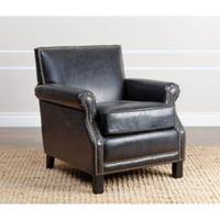 Abbyson Living Chloe Arm Chair in Antique Black Leather