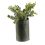 D&W Silks Sedum & Fern in Round Metal Vase