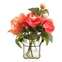 D&W Silks Pink Peonies in Glass Jar