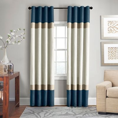 veratex brooklyn colorblock linen 63inch grommet window curtain panel in teal