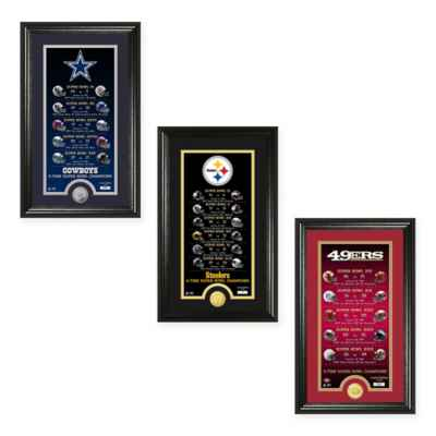 NFL Limited Edition Super Bowl Legacy Framed Wall Art with Bronze Team Coin Collection