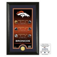 NFL Denver Broncos Limited Edition Super Bowl Legacy Framed Wall Art with Bronze Team Coin