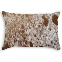 Torino Cowhide Oblong Throw Pillow in Brown/White
