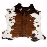 Luxe Faux Fur Hide 4-Foot 3-Inch x 5-Foot Rug/Throw in Chocolate/White
